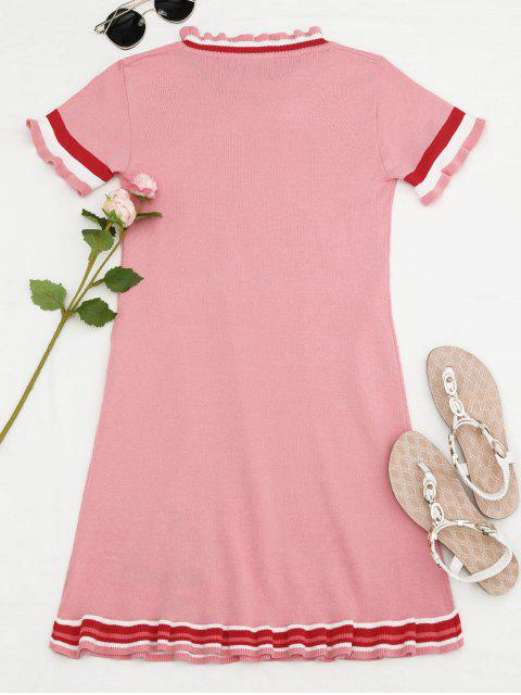 women's Knitted Ruffles Embroidered Mini Dress - PINK ONE SIZE Mobile