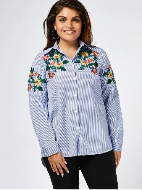 best Stripes Floral Embroidered Plus Size Shirt - STRIPE 3XL Mobile