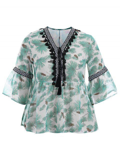 hot Plus Size Tassel Printed Smock Blouse - GREEN 4XL Mobile