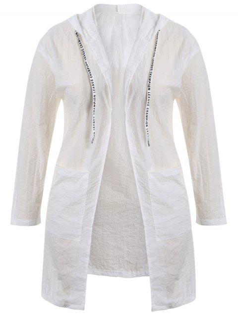 affordable Plus Size Hooded Drawstring Longline Coat - WHITE XL Mobile