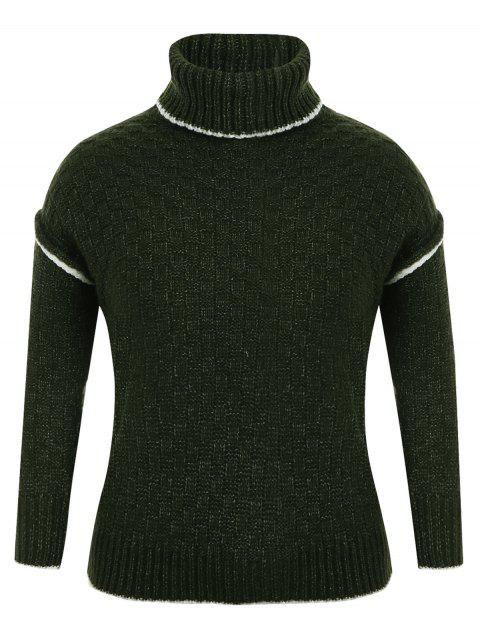 online Turtle Neck Plus Size Pullover Sweater - GREEN ONE SIZE(FIT SIZE XS TO M) Mobile
