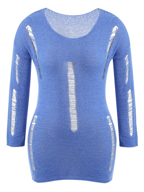hot Plus Size Scoop Neck Ripped Knitwear - BLUE ONE SIZE(FIT SIZE XS TO M) Mobile
