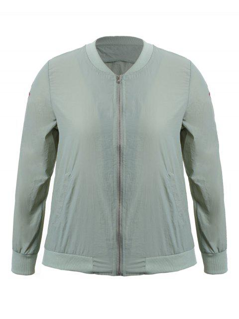 affordable Zippered Floral Embroidered Plus Size Jacket - LIGHT GREY 3XL Mobile