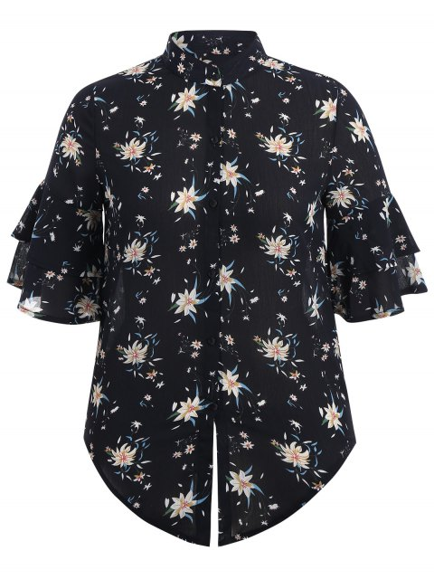 lady Flare Sleeve Floral Plus Size Blouse - PURPLISH BLUE XL Mobile