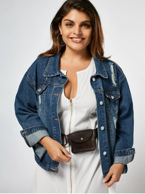 Ripped Plus Size Denim Jacket - Denim Blue 2XL Mobile