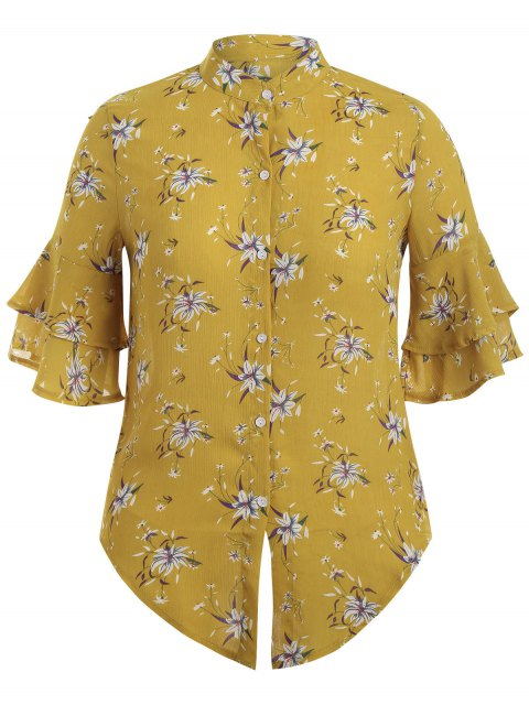 trendy Flare Sleeve Floral Plus Size Blouse - YELLOW XL Mobile