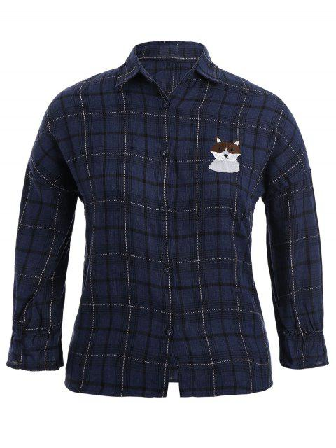 affordable Checked Doggy Patched Plus Size Shirt - BLUE 3XL Mobile