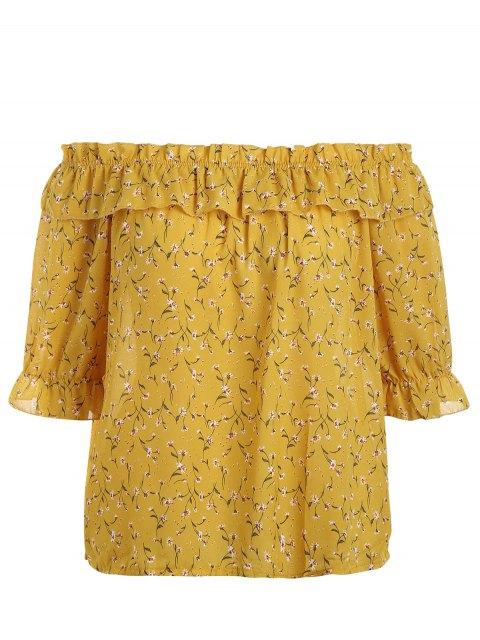 Más tamaño pequeño blusa flor de hombro - Amarillo 3XL Mobile