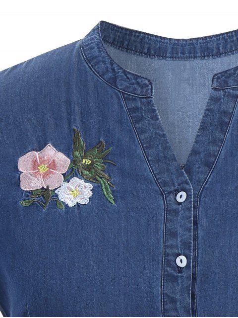 new Embroidered Drawstring Plus Size Denim Dress - DENIM BLUE 2XL Mobile