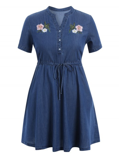 Gestickter Drawstring Plus Size Denim Dress - Denim Blau 2XL Mobile