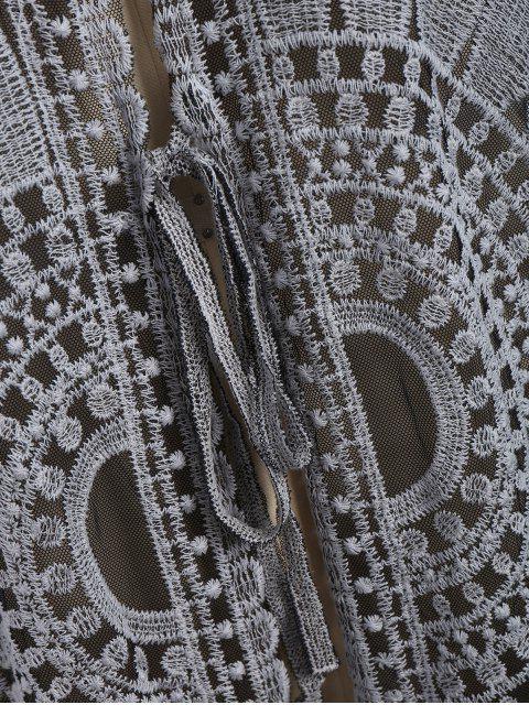 chic Plus Size Kimono Self Tie Cover Up Dress - BLACK XL Mobile