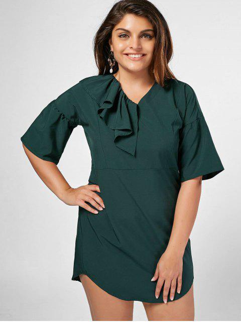 Ruffles Plus Size Shift Mini Dress - vert foncé 2XL Mobile