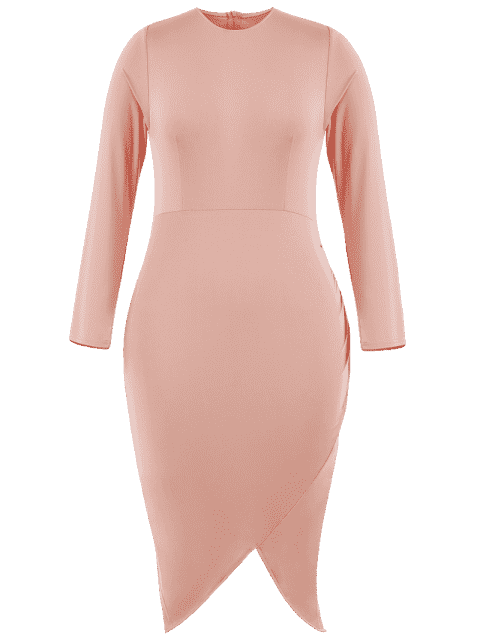 outfits Plus Size Asymmetrical Bodycon Dress - PINK 3XL Mobile