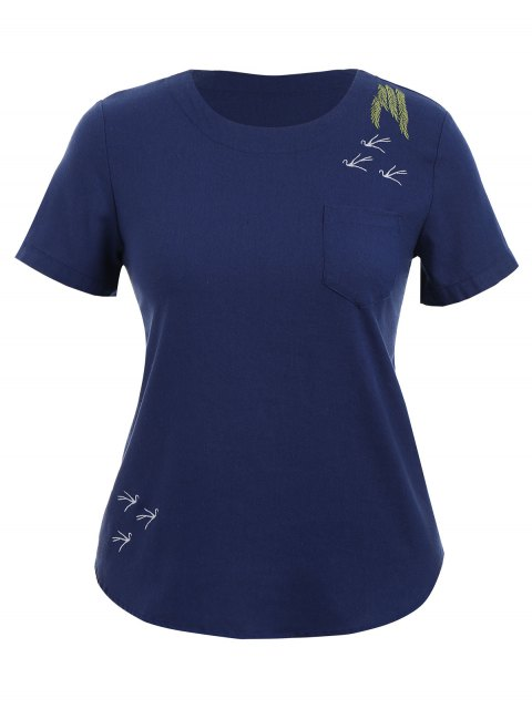 sale Embroidered Plus Size Top with Pocket - PURPLISH BLUE 4XL Mobile