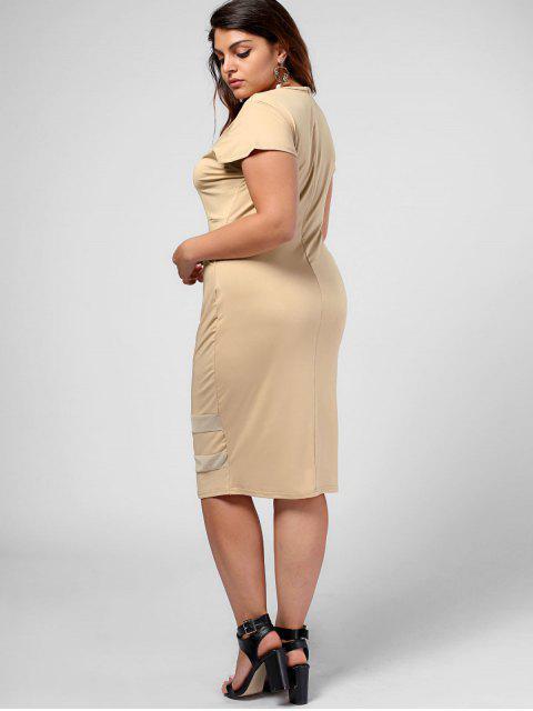 buy Plus Size Sheer Panel Bodycon Dress - KHAKI 5XL Mobile