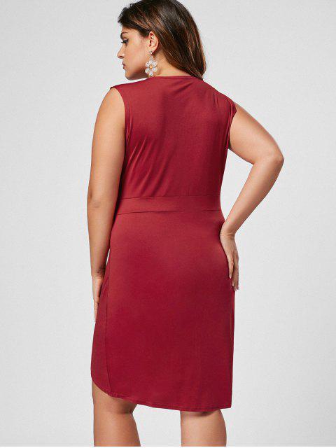 women Sleeveless Zip Up Plus Size Bodycon Dress - WINE RED 2XL Mobile