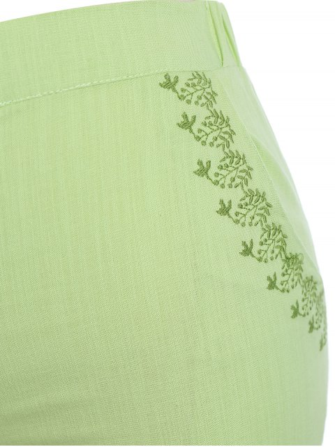 hot Plus Size High Waisted Embroidered Shorts - CELADON XL Mobile