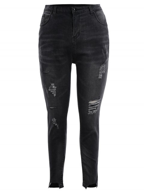 Skinny Plus Size Destroyed Pencil Jeans - Gris Noir XL Mobile