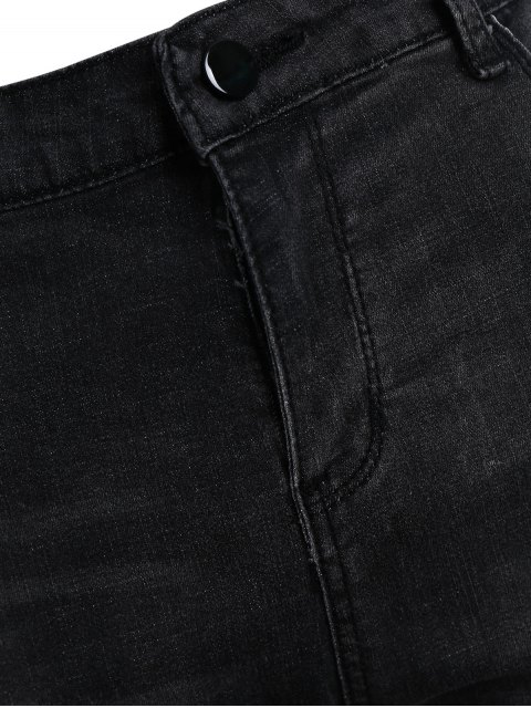 outfit Skinny Plus Size Destroyed Pencil Jeans - BLACK GREY XL Mobile