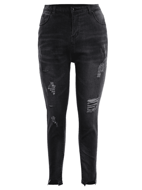 outfits Skinny Plus Size Destroyed Pencil Jeans - BLACK GREY 2XL Mobile