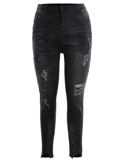 Skinny Plus Size Destroyed Pencil Jeans - Gris Noir 4XL Mobile