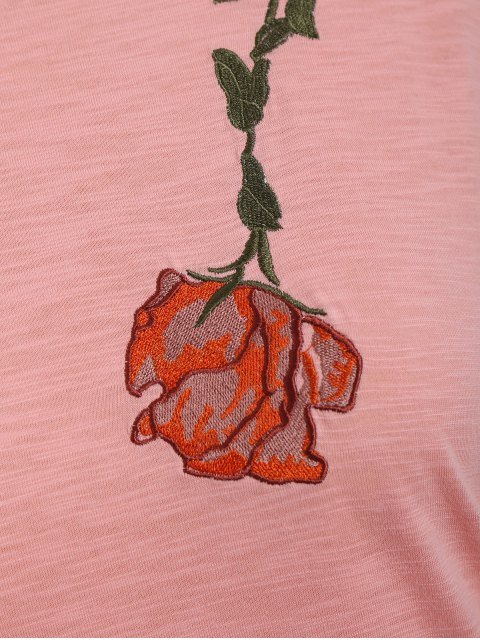 Drapé Sleeve Plus Size Floral Brodé Top - ROSE PÂLE XL Mobile