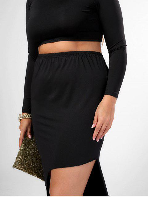 fancy Plus Size High Neck Top and High Low Bodycon Skirt Suit - BLACK 3XL Mobile
