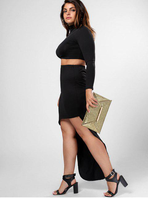 sale Plus Size High Neck Top and High Low Bodycon Skirt Suit - BLACK 2XL Mobile