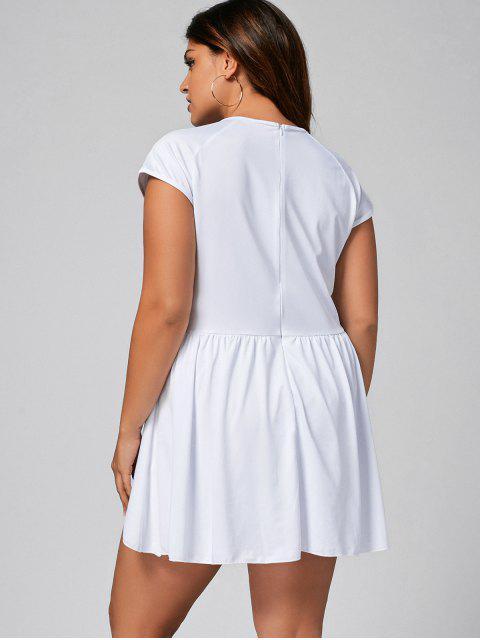 ladies Ruffles Plus Size Asymmetrical Romper - WHITE 3XL Mobile