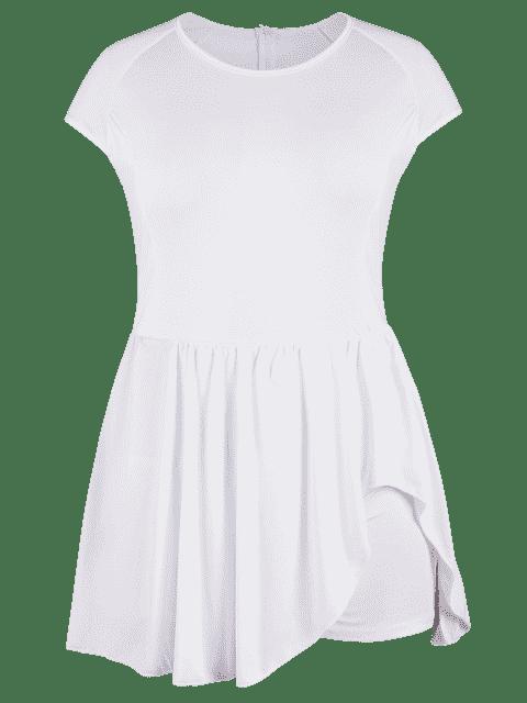 Ruffles Plus Size Asymmetrical Romper - Blanc 3XL Mobile