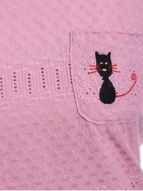 Side Button Sheer Plus Size Top - ROSE PÂLE XL Mobile