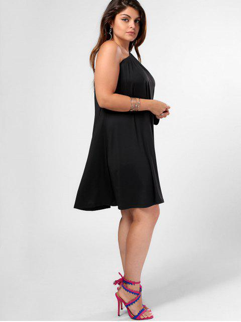 outfit One Shoulder Plus Size Swing Dress - BLACK XL Mobile