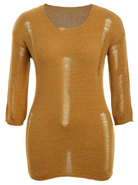 outfits Plus Size Scoop Neck Ripped Knitwear - EARTHY ONE SIZE(FIT SIZE XS TO M) Mobile
