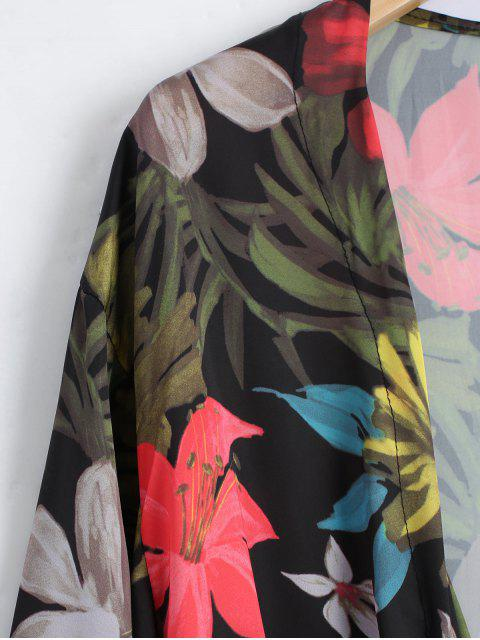 sale Self Tie Floral Kimono - FLORAL L Mobile