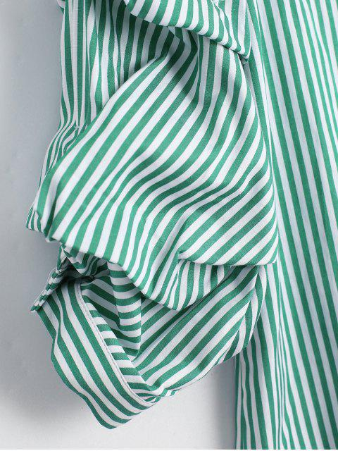 womens Puff Sleeve Single Breasted Striped Shirt - STRIPE L Mobile