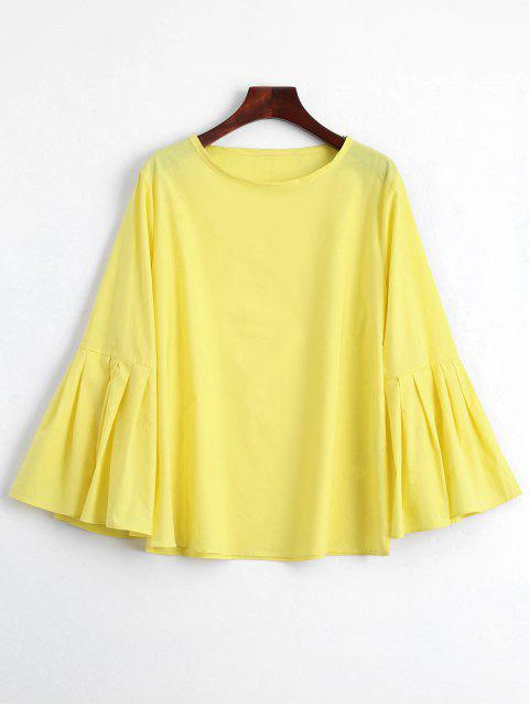 ladies Pleated Bell Sleeve Plain Blouse - YELLOW L Mobile