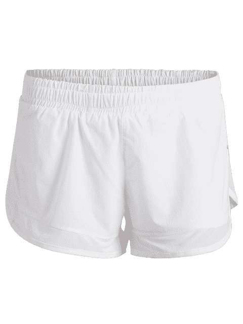 women Mesh Double Layered Running Shorts - WHITE XL Mobile