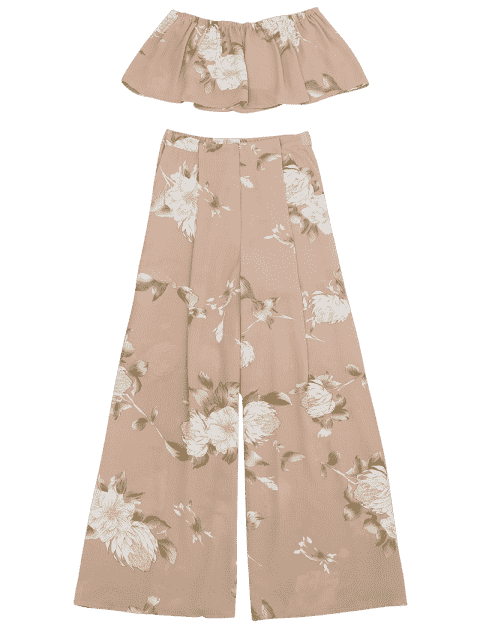 chic Smocked Tube Top and Slit Floral Wide Leg Pants - FLORAL S Mobile