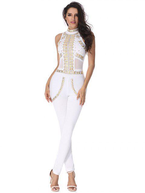 Combinaison en jonc d'embellissement riveté - Blanc L Mobile