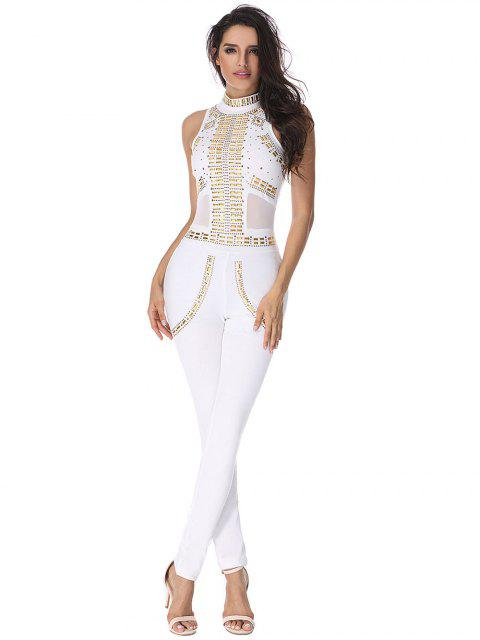 fashion Rivet Embellished Mesh Panel Jumpsuit - WHITE L Mobile