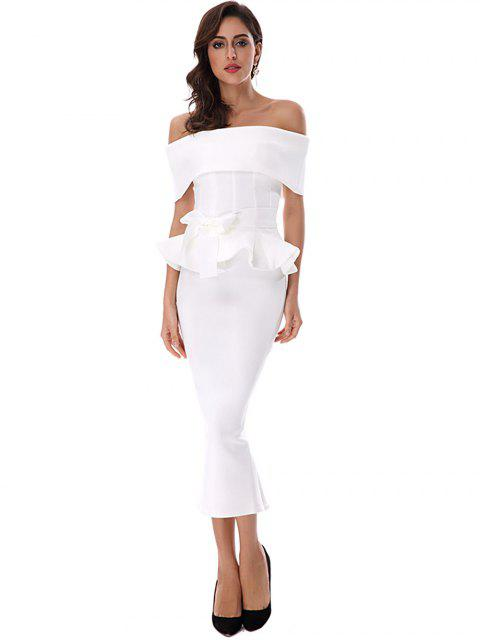 women Ruffles Belted Top and Slit Skirt Set - WHITE M Mobile