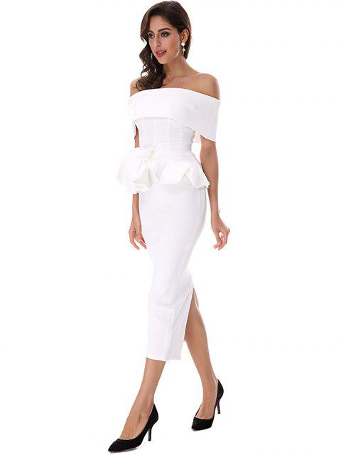Ruffles Belted Top and Slit Skirt Set - Blanc L Mobile
