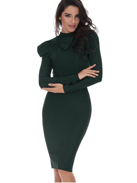 buy Bowknot Embellished Long Sleeve Fitted Dress - BLACKISH GREEN M Mobile