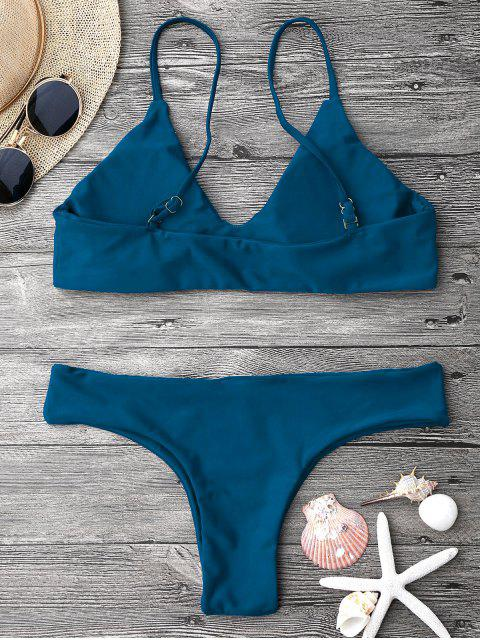womens Adjustable Straps Padded Bralette Bikini Set - BLUE L Mobile