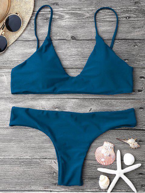 women Adjustable Straps Padded Bralette Bikini Set - BLUE M Mobile