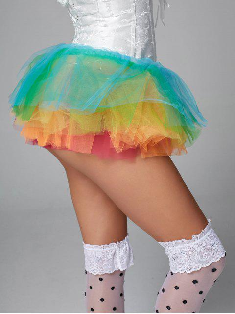 affordable Rainbow Light Up Mesh Tutu Cosplay Skirt - MULTI ONE SIZE Mobile