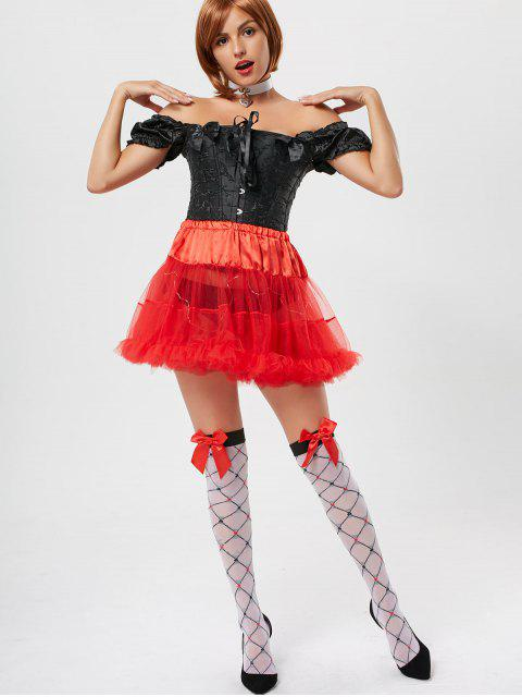 women Ruffles Light Up Tutu Voile Cosplay Skirt - RED ONE SIZE Mobile