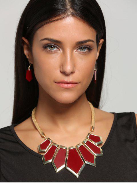 Collier et pendentif en forme de géométrie plaqué - Rouge  Mobile