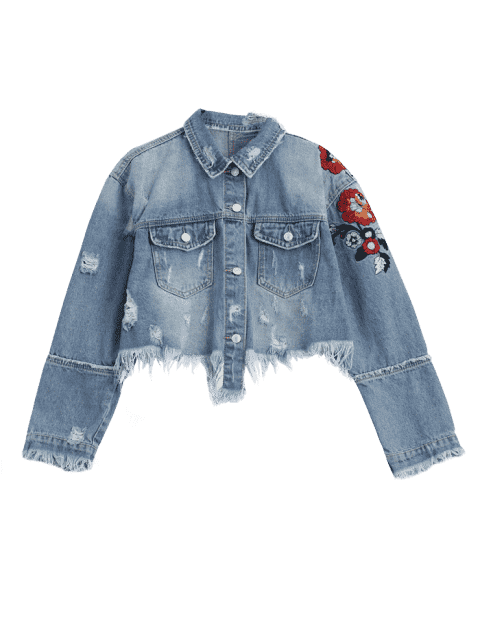 latest Ripped Cutoffs Floral Embroidered Denim Jacket - DENIM BLUE S Mobile