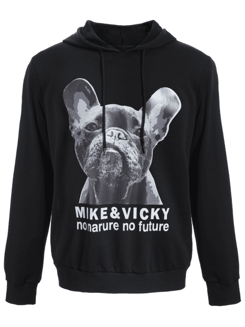 fashion Puppy Graphic Mens Oversized Hoodie - BLACK 2XL Mobile
